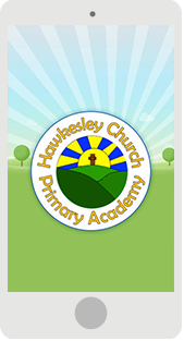 Screenshot of the Hawkesley Primary School Mobile App